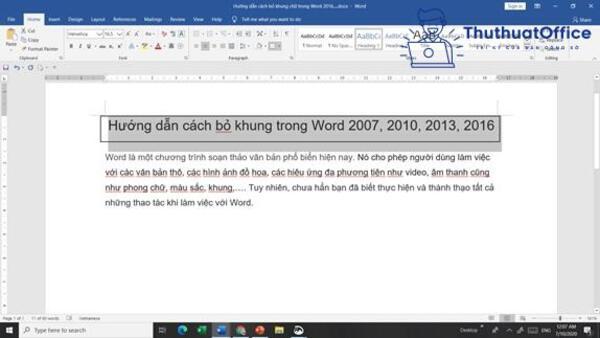 Cách xóa khung trong Word
